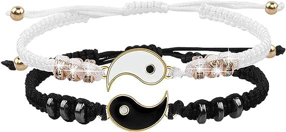 2 Matching Yin Yang Verstellbare Schnur Armband