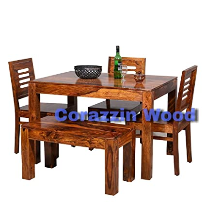 439b72cf4209 Corazzin Wood Sheesham Wooden Dining Table 4 Seater | Dining Table Set with  3 Chairs & 1 Bench | Home Dining Room Furniture | Honey Finish Finish: ...