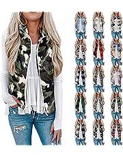 Muxing Womens' Reversible Lightweight Quilted Vest Coat Leopard Print Fleece Vest Jacket Sleeveless Coat