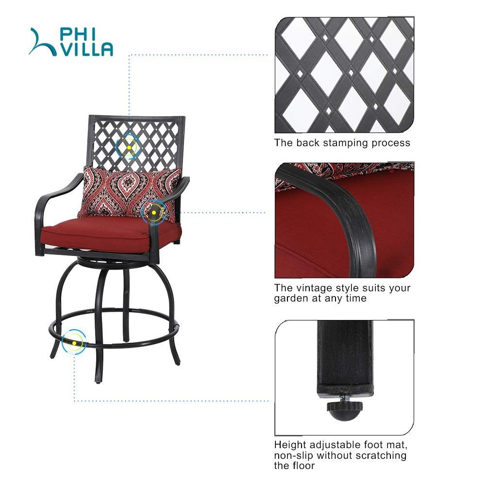 PHI VILLA 4 Set Metal Vintage Patio Swivel Height Bar Stools Armrest Chairs with Backs-24 Seat Height