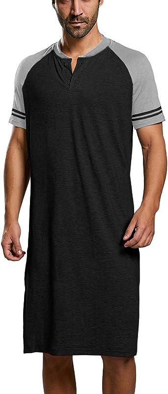 Camisetas de Pijama para Hombre Algod/ón Camisa de Dormir Pijama Manga Corta Ropa de Dormir Casual C/ómodo