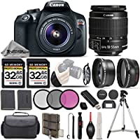 Canon EOS Rebel T6 Camera + Canon EF-S 18-55mm f/3.5-5.6 IS II Lens + 0.43X Wide Angle Lens + 2.2x Telephoto HD Lens - All Original Accessories Included - International Version