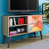 Manhattan Comfort Dalarna 35 TV Stand in Oak Stamp Gray