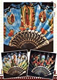 Set of 12 Religious Summer Black Hand Fan with Gift Bag Baptism/religious favor