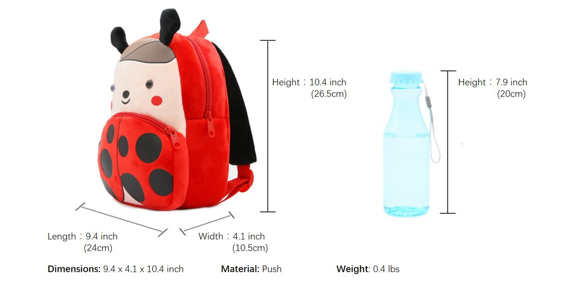 Cute Toddler Backpack Toddler Bag Plush Animal Cartoon Mini Travel Bag for Baby Girl Boy 1-6 Years (Beetle) by NICE CHOICE (Image #5)