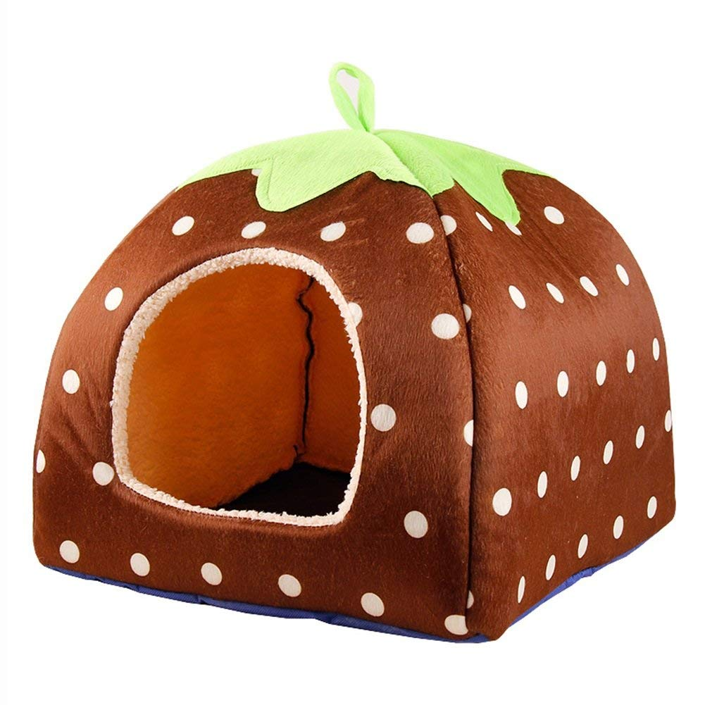 S -28 *28 *34cm Pet Bed Cats and Dogs Pet House Strawberry Yurts Piegatable Pet Salon Brown S /M /L /XL (Dimensione * XL -42 * 42 * 48cm) (Dimensione: S -28 * 28 * 28 * 34cm)