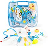 SONi 10 PCS Doctor Medical Kit Pretend and Play Toys Set with Electronic Stethoscope for Girls and Boys,Lights and Sounds (Blue)
