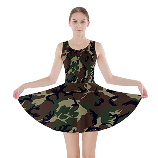 9452d27d404aa WorldX Womens Camouflage Camo Military Soldier Army Wife Skirt Skater Dress,  Camouflage - 2XL