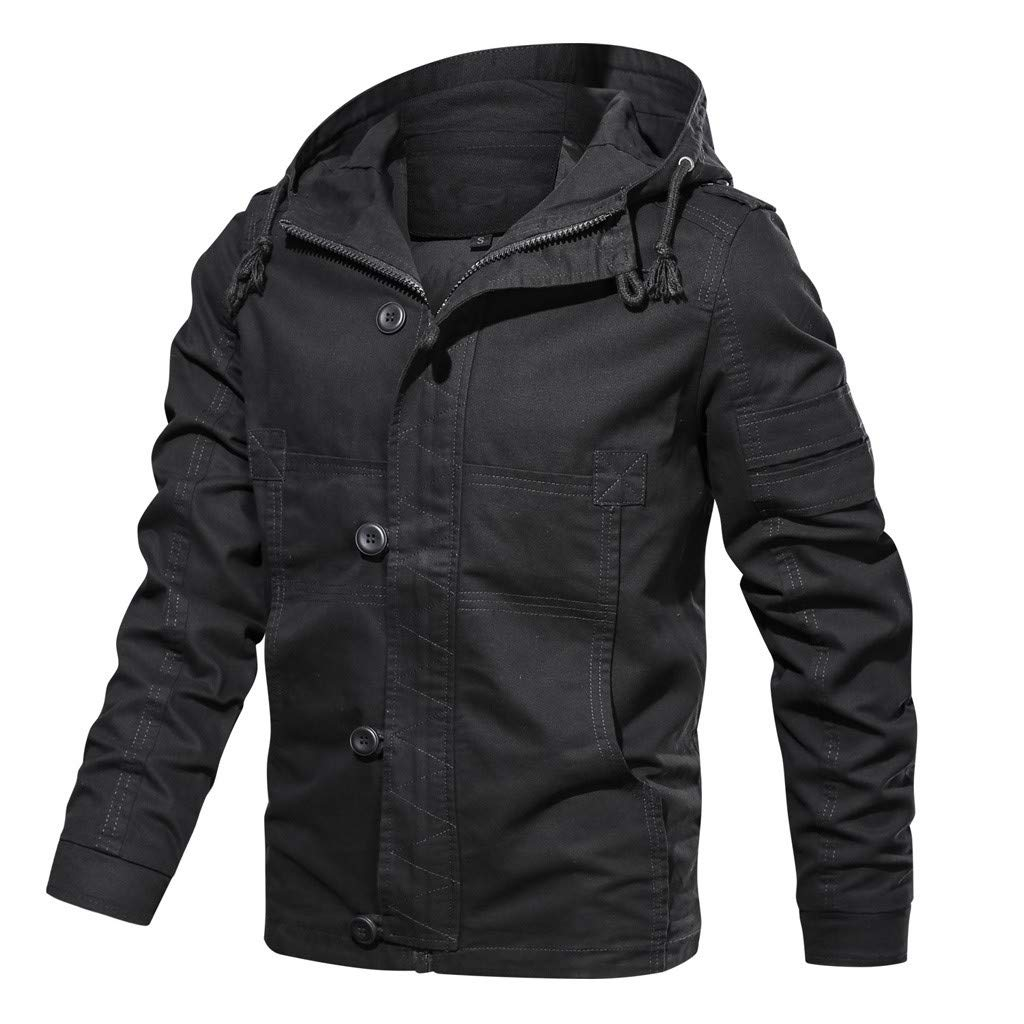 Men's Cotton Blend Casual Loose Hoodie Coat Simple Pure Color Zipper+Button Long-Sleeve Breathable Wash Jacket Outwear by SSDXY