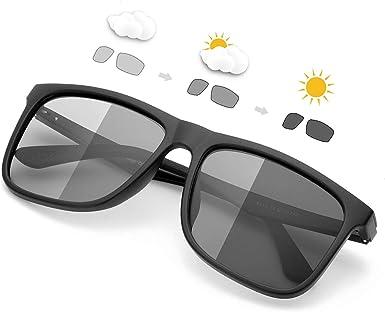 SIPHEW Homme Lunette de Soleil Photochromiques Polarisées Métal Matière Légère et Confortable Protection 100% UVA et UVB