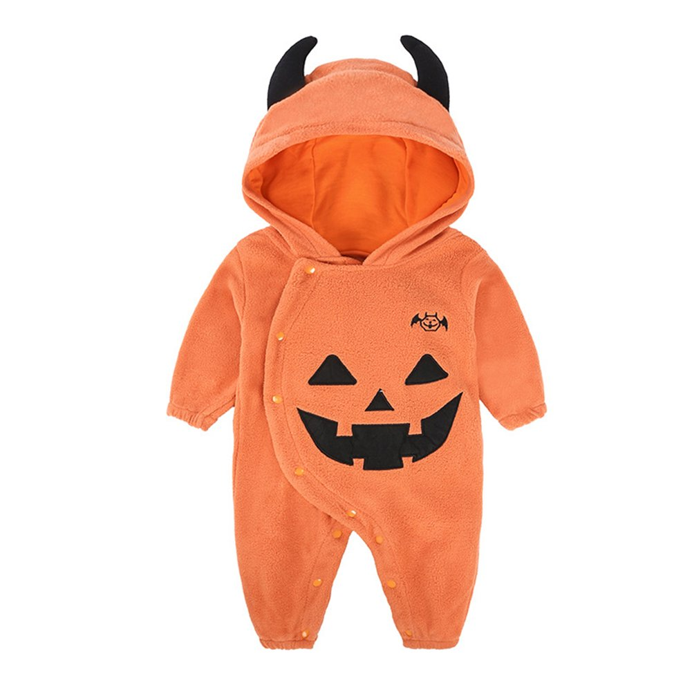ALLAIBB Infant Baby Unisex Halloween Costume Pumpkin Devil Jumpsuit Orange Black