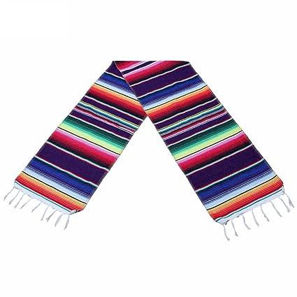 BESTONZON Camino de mesa estilo mexicano de tela rollo arco iris camino de mesa para fiesta