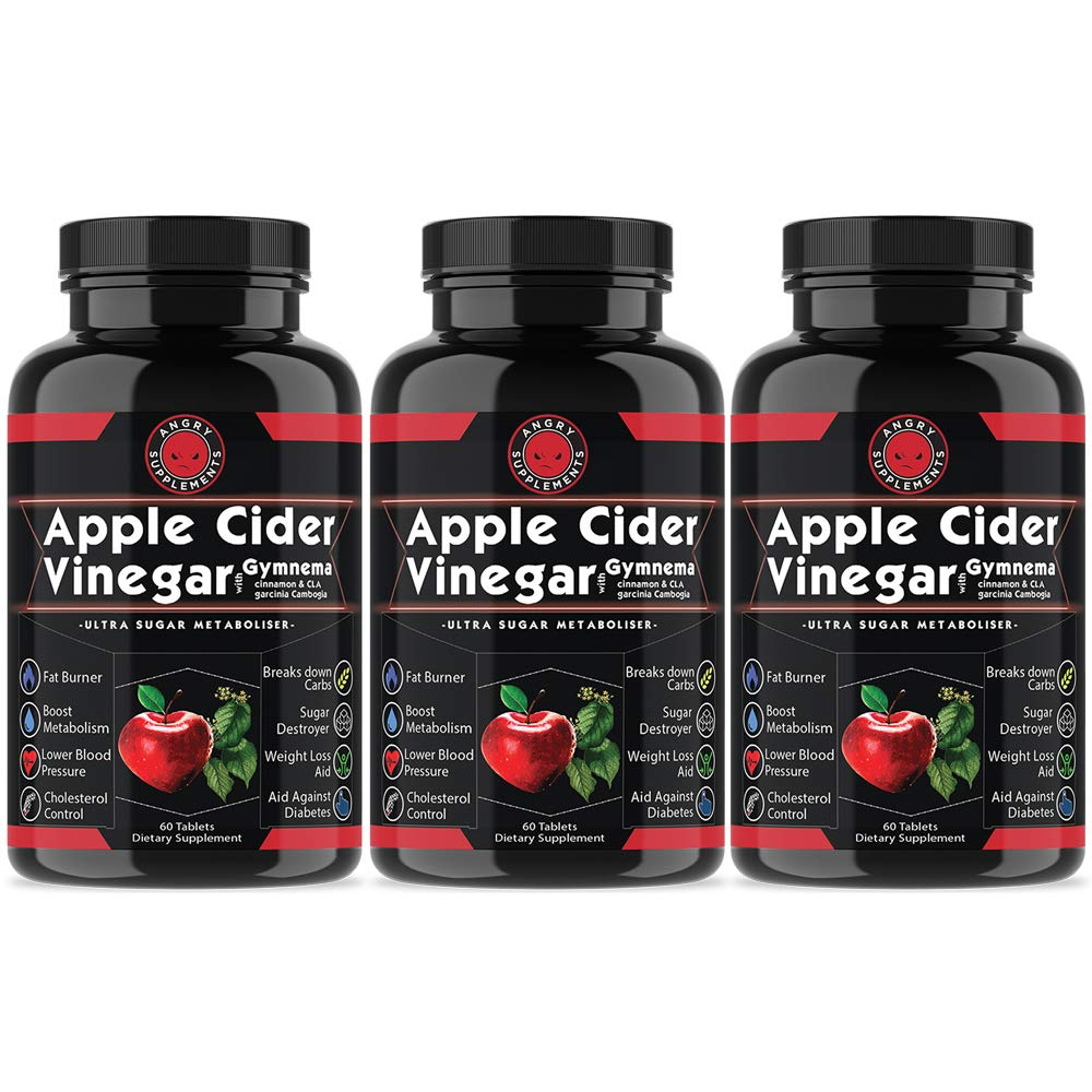Angry Supplements Apple Cider Vinegar Pills for Weightloss – Natural Detox Remedy Includes Gymnema, Cinnamon, CLAS, and Garcinia for Complete Diet and Health – Starter Kit or Gift 3-Bottles