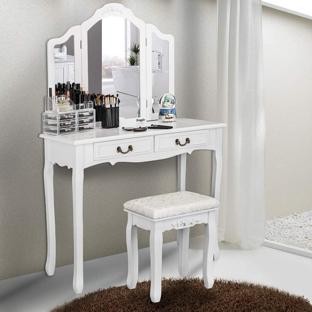 FCH Vanity Set with Tri-Folding Mirror Cushioned Stool, Wood Dressing Table Vanity Makeup Table with 2 Drawers 2 Dividers for Girls Women Bedroom, White