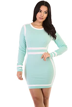 d5f92a1c354 Amazon.com  GITI ONLINE Long Sleeve Lady Mini Dress  Clothing