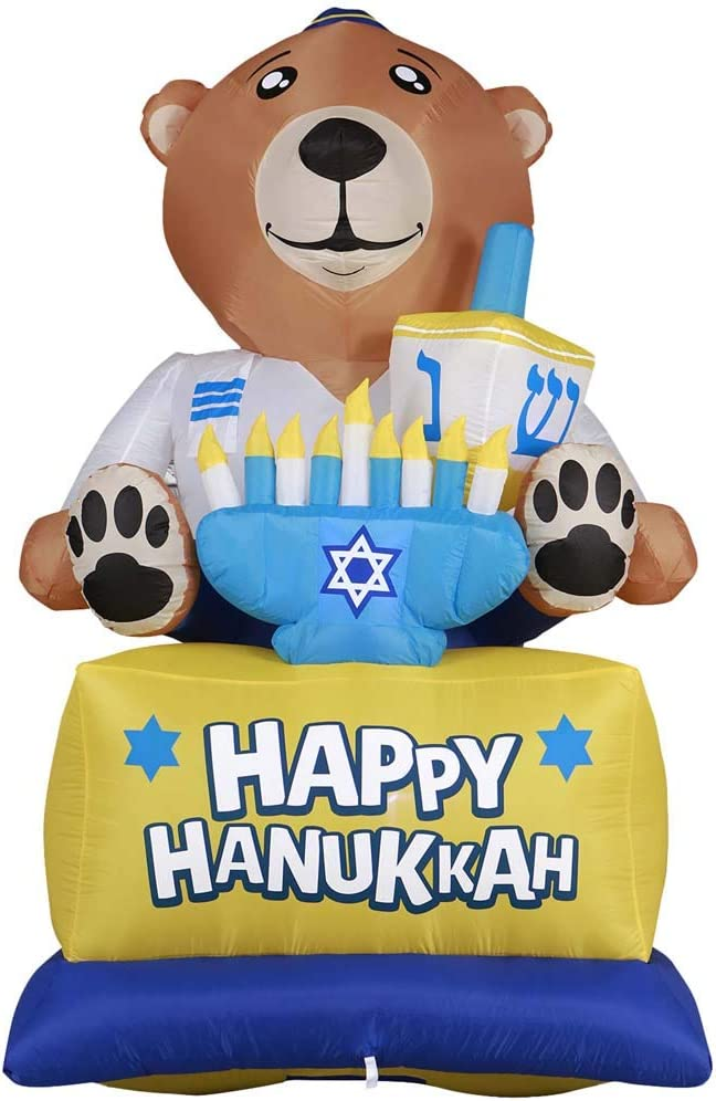 Gardenised Giant Hanukkah Inflatable Bear - Yard Decor with Built-in Bulbs, Tie-Down Points, and Powerful External Fan, Multicolor