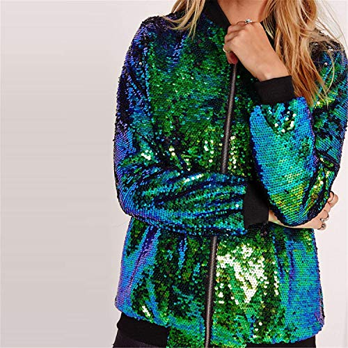 Giacche Outerwear Primaverile Cerniera Donna Moda A Elegante Di Chiusura Cappotto Hipster Bomber Giacca Paillettes Brillantini Manica Women Autunno Fashion Giovane Grün Casuali Lunga Con qFROw1