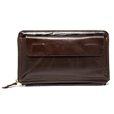 Portefeuille en cuir à long portefeuille pour homme Portefeuille en cuir à grand portefeuille pour homme ZYXCC