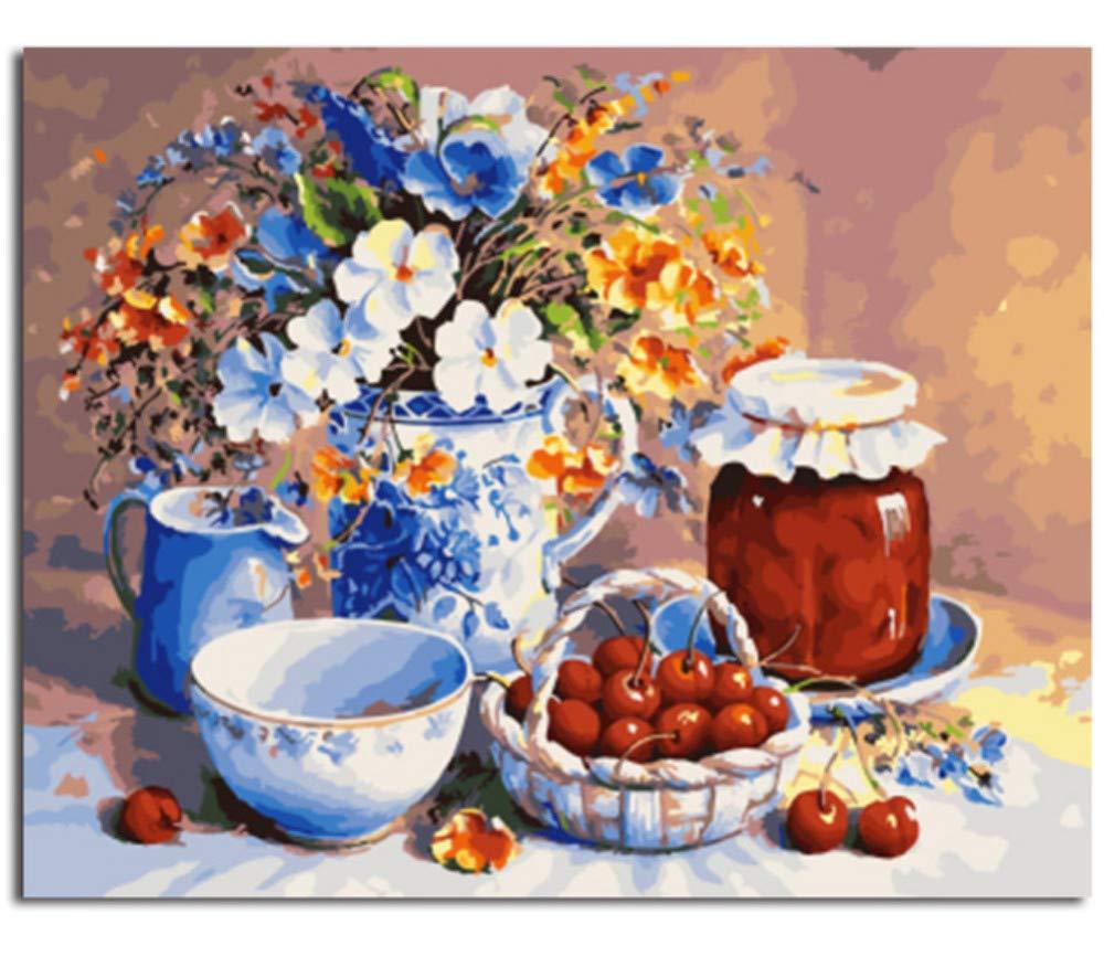 Malen Nach Nach Nach Zahlen Für Erwachsene Anfänger DIY Geschenk Glasschale Mit Blaumen Acryl Malerei Hause Wanddekor-Rahmen 40X50Cm B07PH8YK8Z   Sehen Sie die Welt aus der Perspektive des Kindes  024278