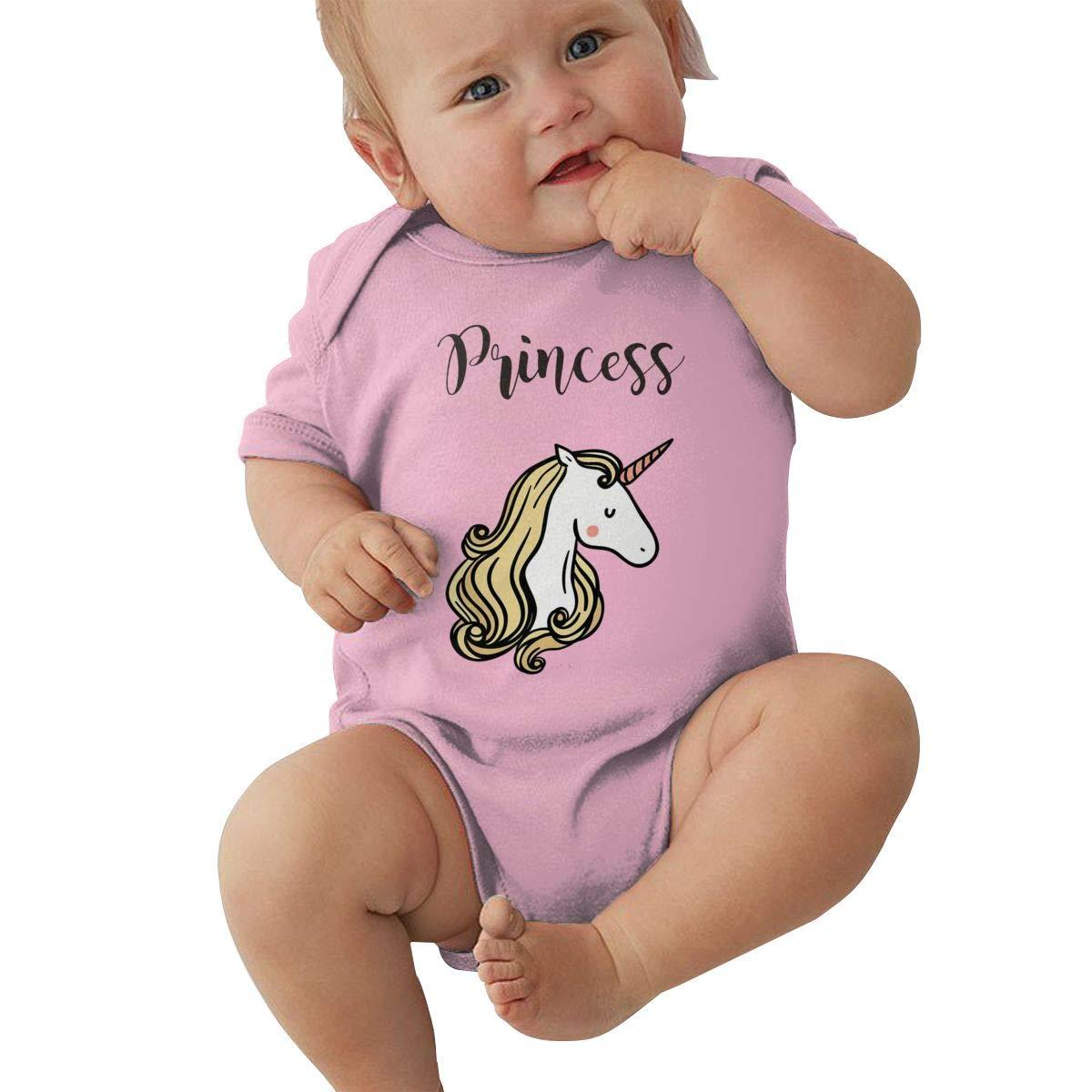 Toddler Baby Girls Bodysuit Short-Sleeve Onesie Unicorn Princess Print Outfit Spring Pajamas
