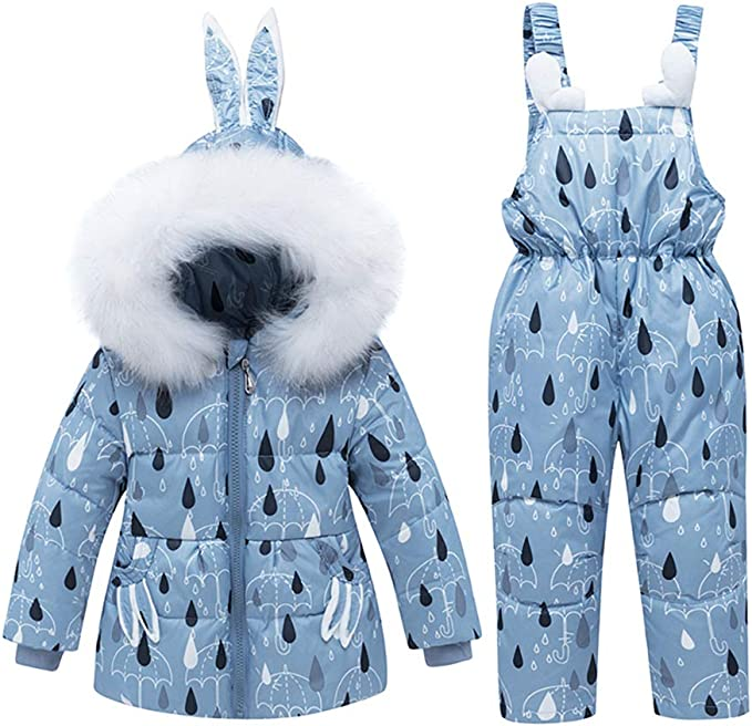 LSERVER Infant Toddler Girl Pink Down Coat Snowsuit Warm Jacket with Snow Ski Bib Pants Jumpsuit 1-3T