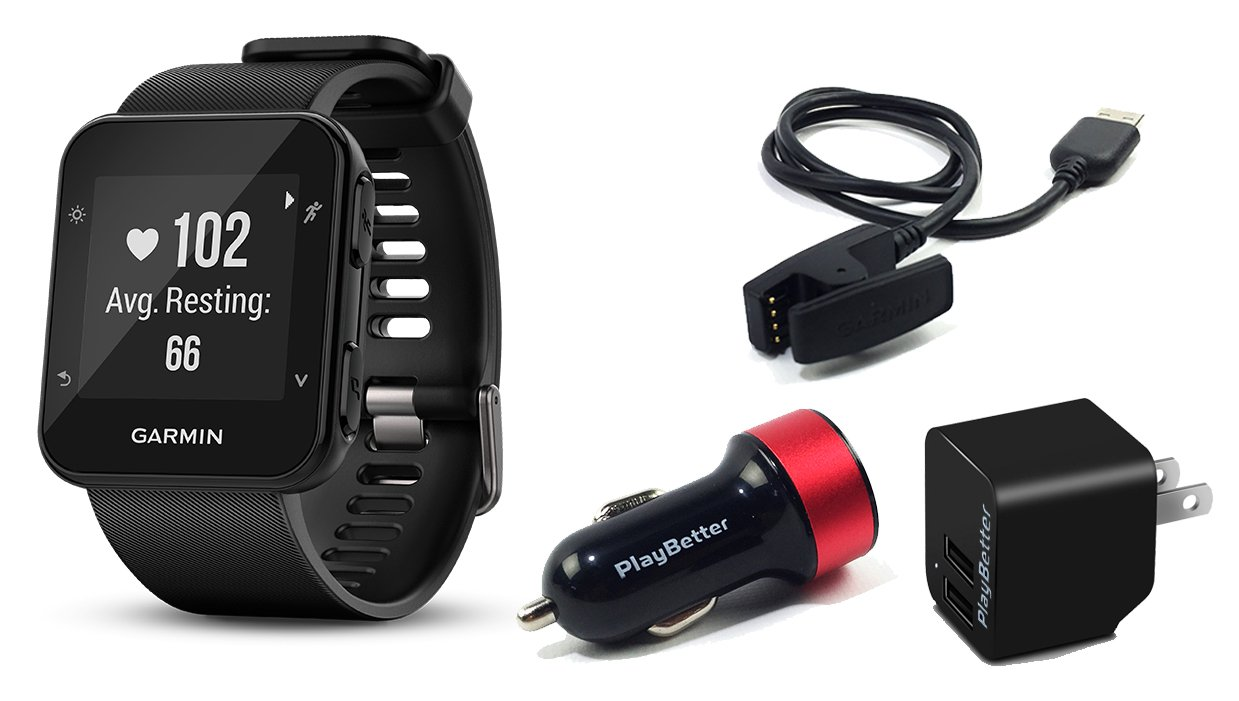 Garmin Forerunner 35 (Black) GPS Running Watch CHARGING BUNDLE with PlayBetter USB Wall & Vehicle Charging Adapters, USB Charging Cable | 24/7 Activity Tracking & On-Wrist Heart Rate