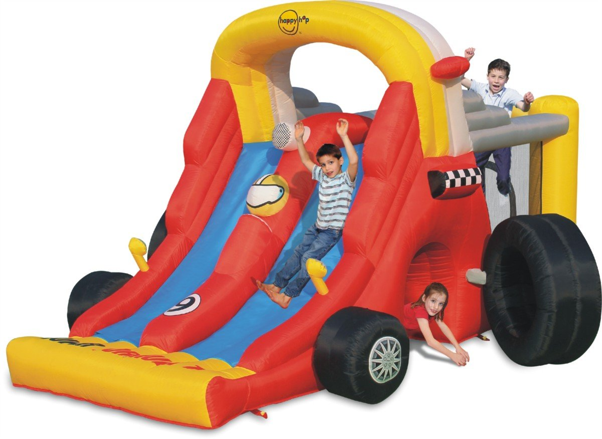 Inflatable Slide - Bouncy Castle Formula 1 Kids Double Mega Slide Combo - Happy
