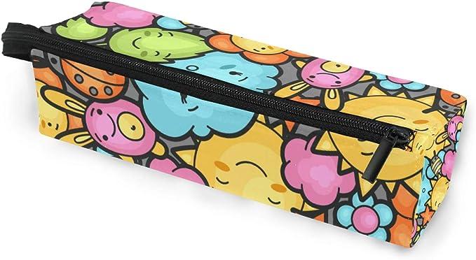 Estuche de bolsa de lápiz Gafas de sol Encantador patrón de dibujos animados feliz Cosmético Estudiantes Papelería Cremallera para niñas Niños: Amazon.es: Oficina y papelería