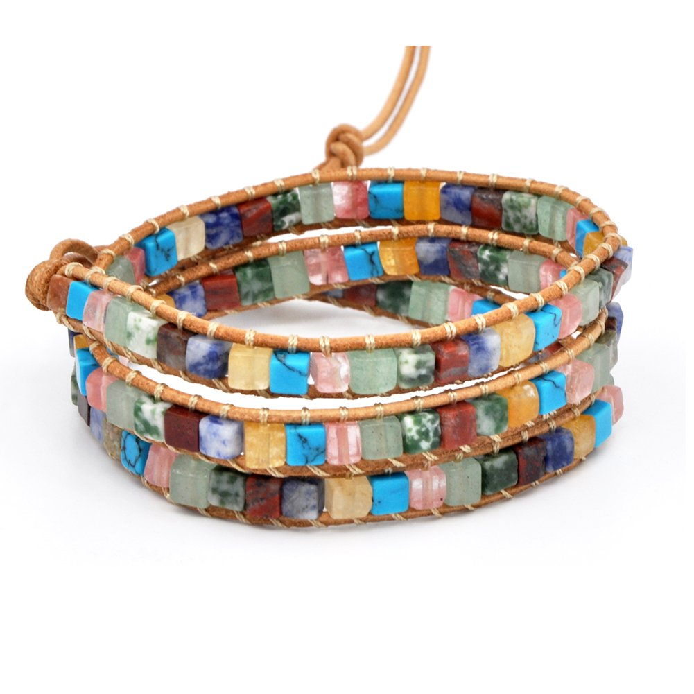 MO SI YI Multi-layer Braided Leather Wrap Bracelet with Multi-color 4mm Rounded/Square Agate Beads (3 wrap(Square))