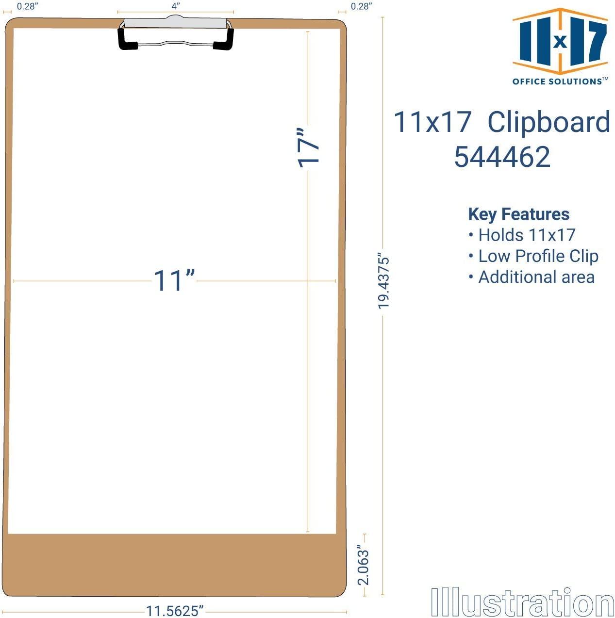 11x17 Clipboard Hardboard Panel Featuring a Low Profile Clip Light Brown