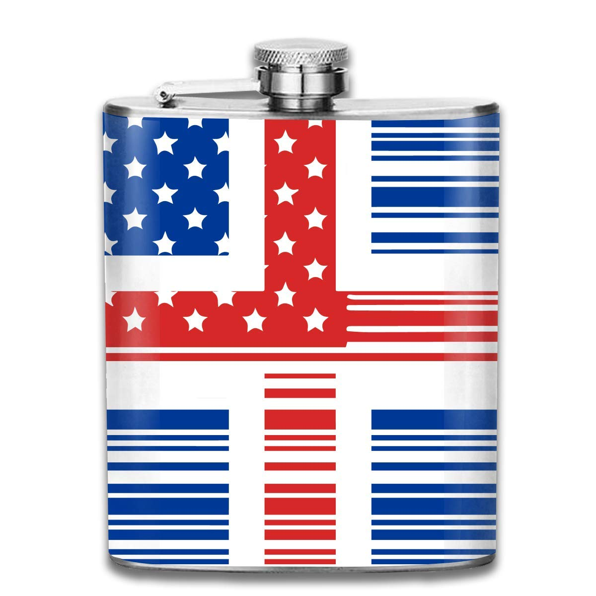deyhfef Men and Women Thick Stainless Steel Hip Flask 7 OZ Bar Code American Iceland Flag Pocket Container for Drinking Liquor Vodka