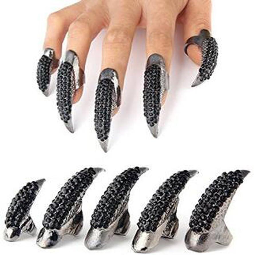 5 anillos de dedo con forma de pata de garra de cristal transparente de estilo punk, color negro