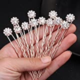 Miallo wedding Bridal Flower Crystal Hair Pins Bobby Pins–Clear Stone Rose Gold (Pack of 12)