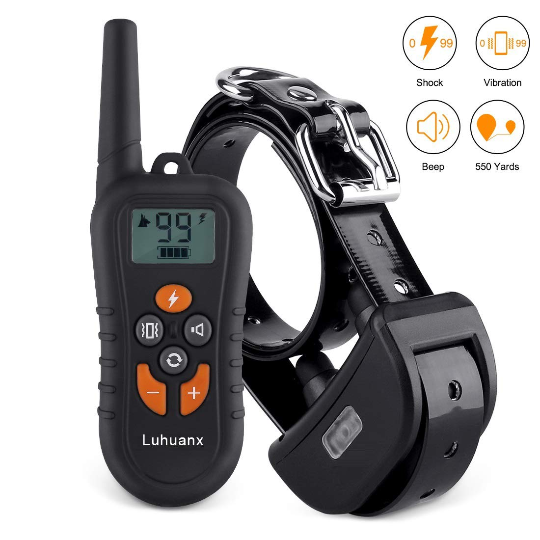 orange Luhuanx Dog Training Collar with 500 Yards Remote Control Separated Mode Buttons Dog Shock Collar Night Light Beep Vibration Shock 4 Modes Waterproof Dog Collar for Large Medium Small Dogs