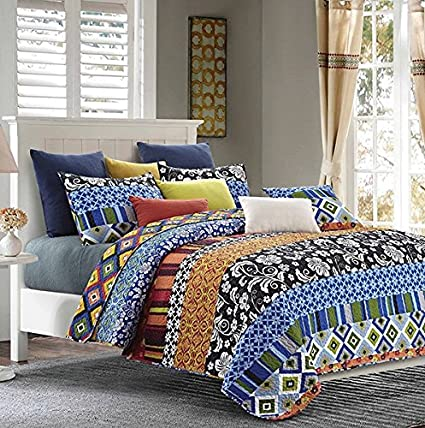 amazon com duke imports dq506q stripe 3piece stripe quilt set queen