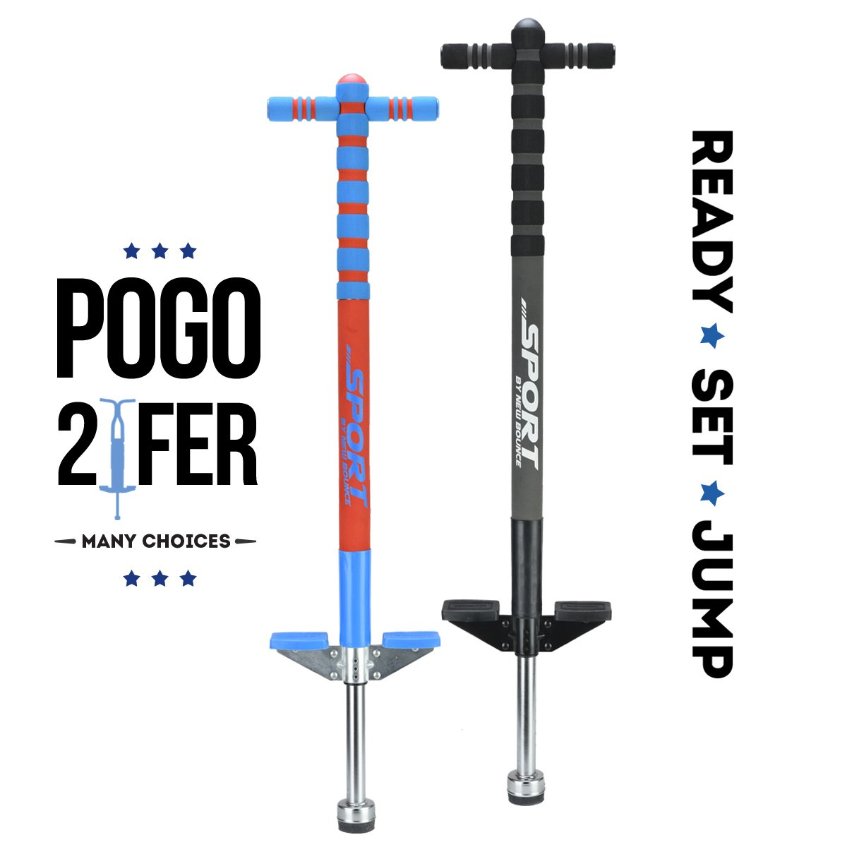 New Bounce Soft, Easy Grip Sport Pogo Stick- 2 Pack Combo Set