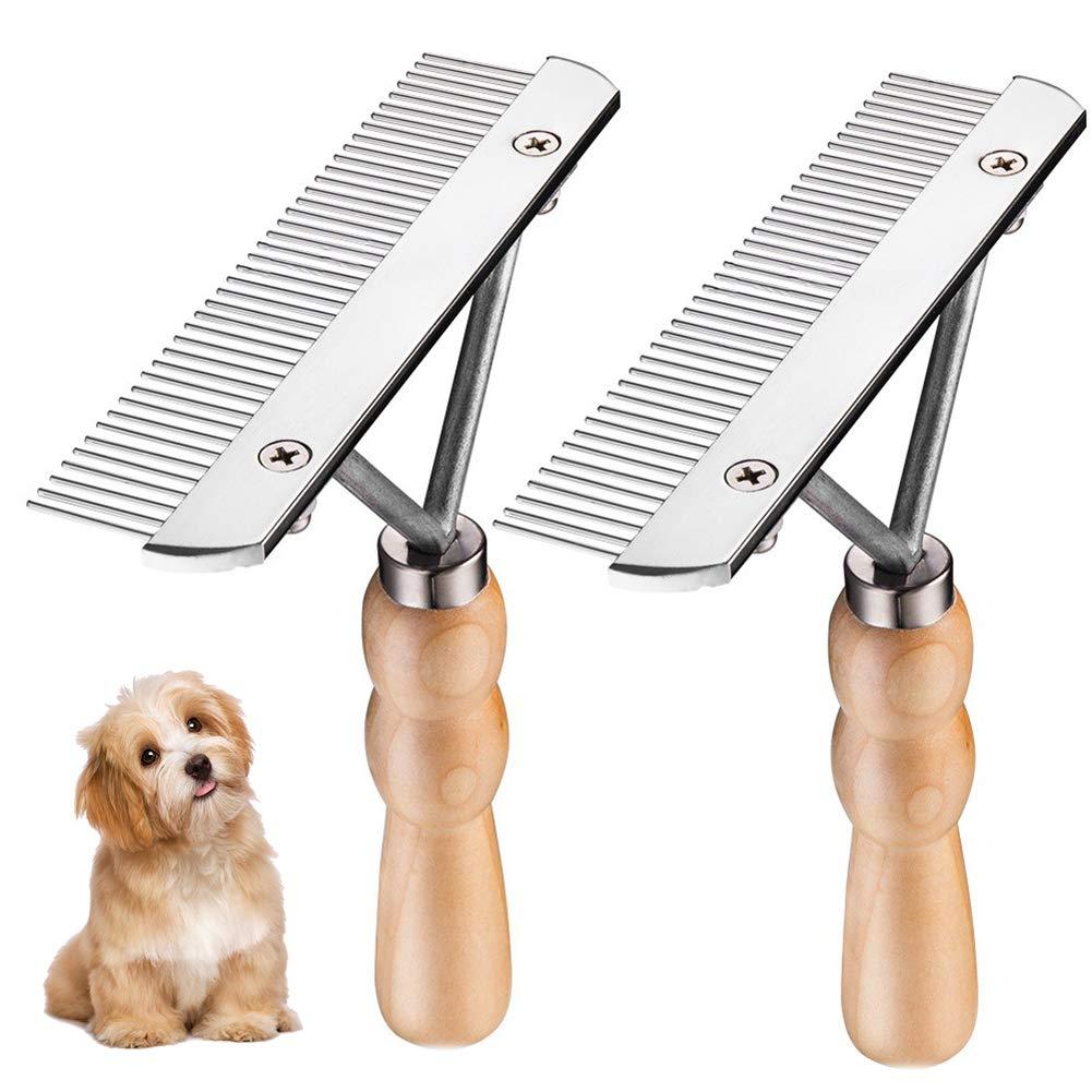JIGAN Pet Comb, Anti-Slip Wood Handle Grooming Rake, Dog Long Hair Brush,Large Animal Grooming Rake 2 Pcs
