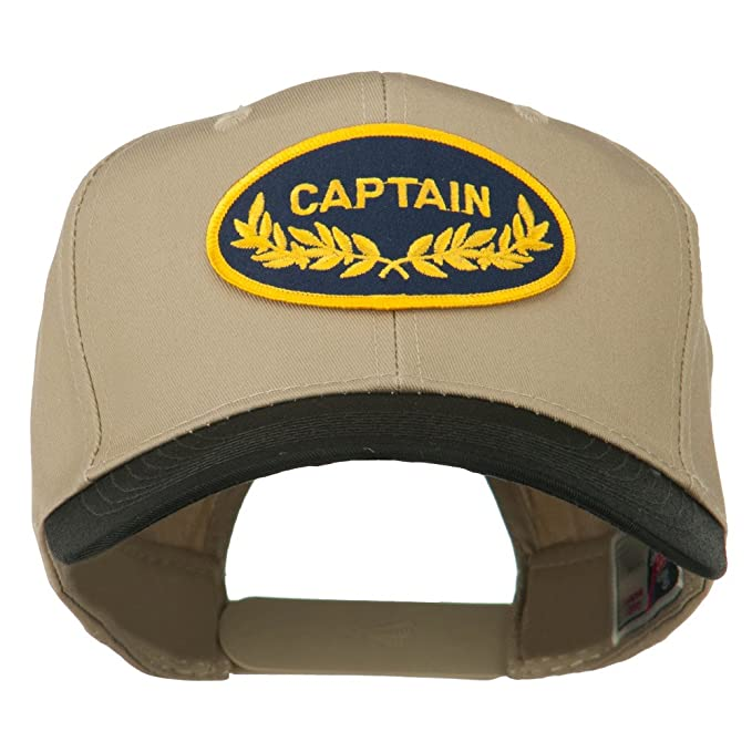 02aa526ca303b Captain Oak Leaf Military Patched Prostyle Cap - Black Khaki OSFM at ...