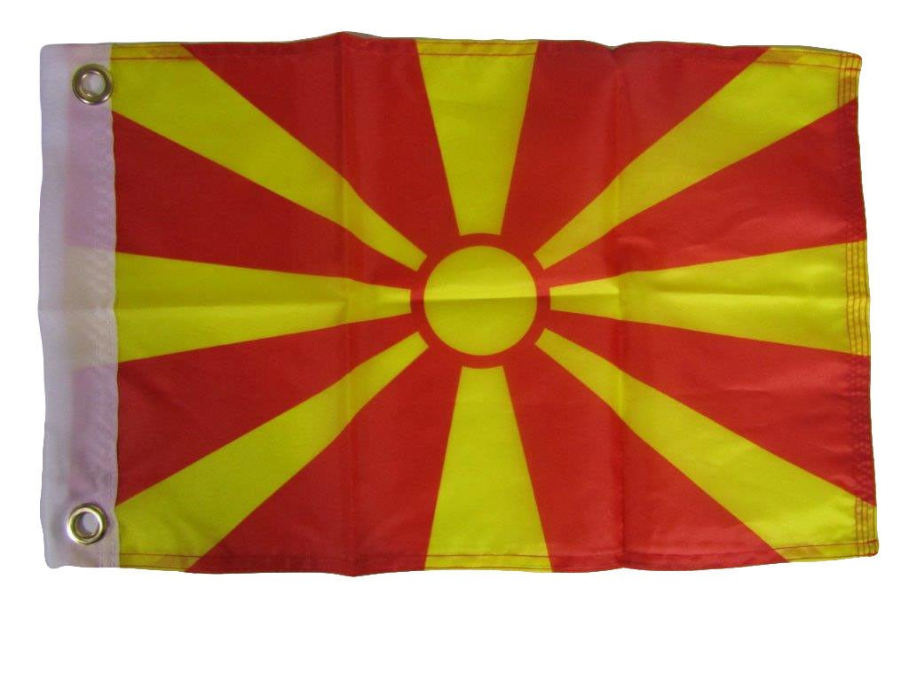 ALBATROS 12 inch x 18 inch Macedonia Country Motorcycle Boat Flag Grommets for Home and Parades, Official Party, All Weather Indoors Outdoors