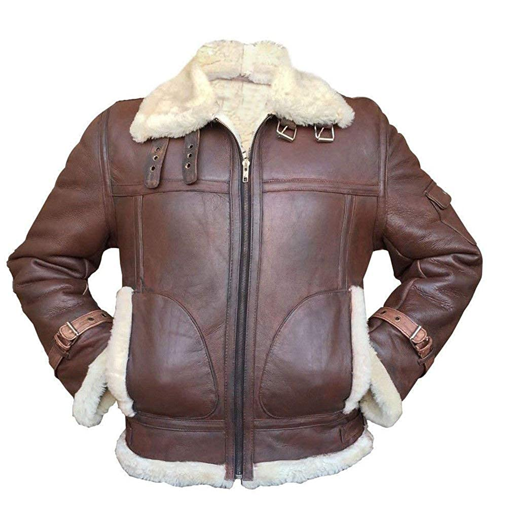 Men's Vintage Style Coats and Jackets III-Fashions B3 Mens Winter Fur Shearling Aviator Pilot Flying Ginger Sheepskin Bomber Leather Jacket $179.00 AT vintagedancer.com