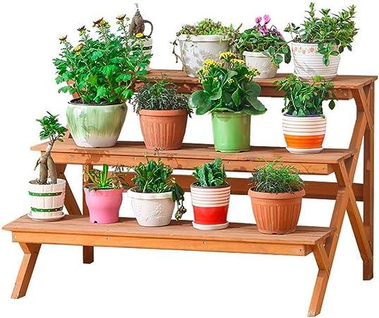 ZTMN Escalera de Planta 3 Niveles Estante de Flores Decorativo, Maceta de Interior y Exterior Escalera de Flores Jardín de su casa Terraza Balcón Estante de Almacenamiento de Plantas - 90x60 X: