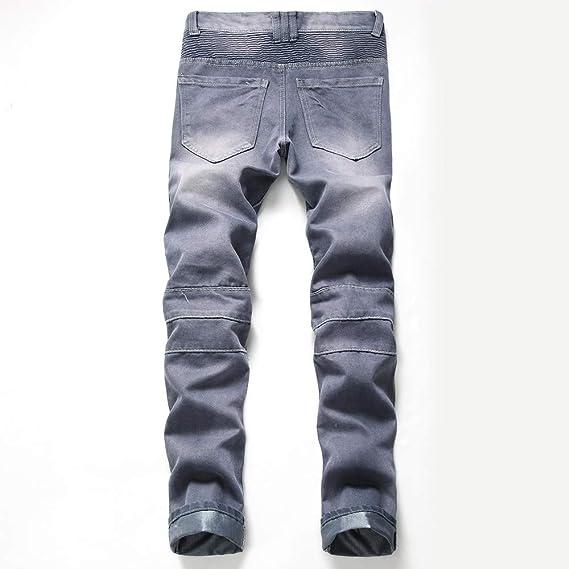 Mymyguoe Hombre Pierna Recta Pantalones Vaqueros, Vintage Look Leisure Destroyed Ripped Huecos Jeans, Hombres Washed Fit Jeans Viejos Pantalones Denim ...