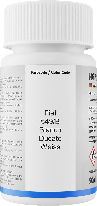 Mg Prime Autolack Lackstift Set Für Fiat 549 B Bianco Ducato Weiss Basislack Klarlack Je 50ml Auto