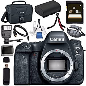 Canon EOS 6D Mark II DSLR Camera (Body Only) 1897C002 + LPE-6 Lithium Ion Battery + 128GB SDXC Card + Canon 100ES EOS shoulder bag + Tripod + Universal Slave Flash unit + Mini HDMI Cable Bundle