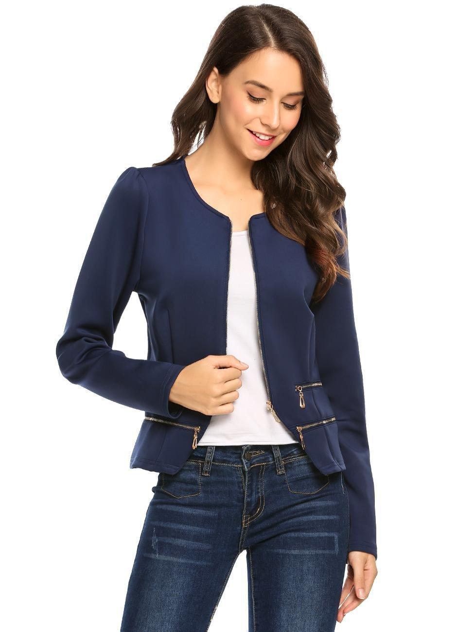 Zeagoo Women's Casual Zipper Cardigan Blazer O Neck Slim Fitted Office Jacket (L, Navy Blue) by Zeagoo (Image #4)