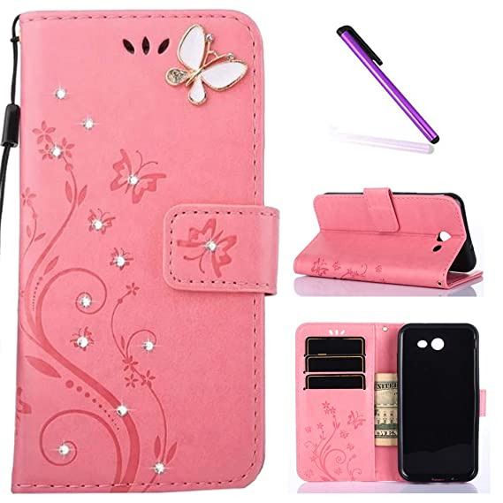 J3 2017 Case,Samsung Galaxy J3 Prime Case, LEECOCO Embossed Floral Crystal  Diamonds Butterfly with Card Slots Flip Stand PU Leather Wallet Case for