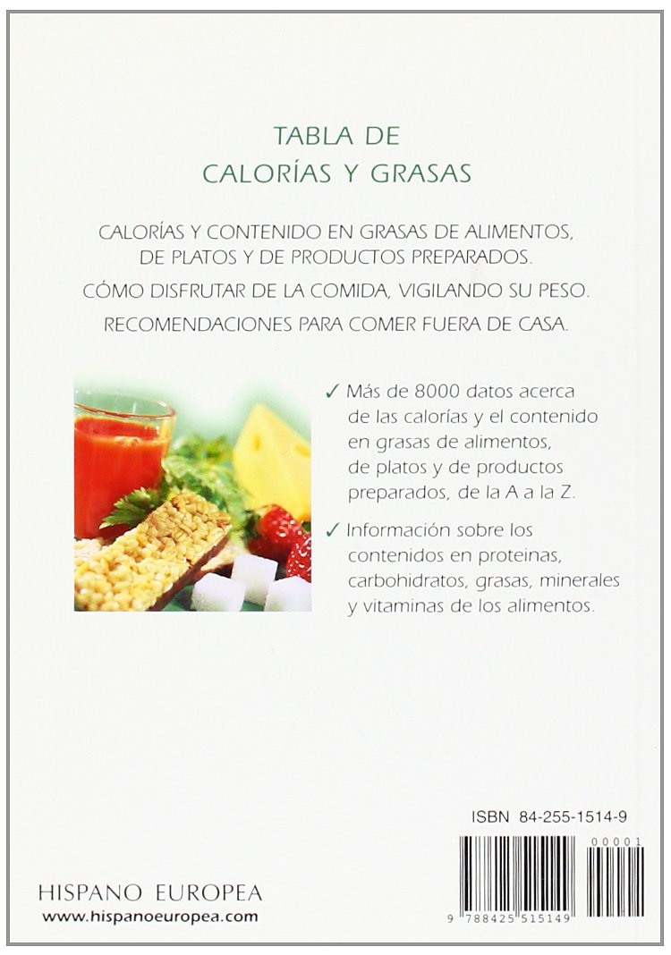 Tabla de calorias y grasas (Spanish Edition): Ulrich Klever: 9788425515149: Amazon.com: Books