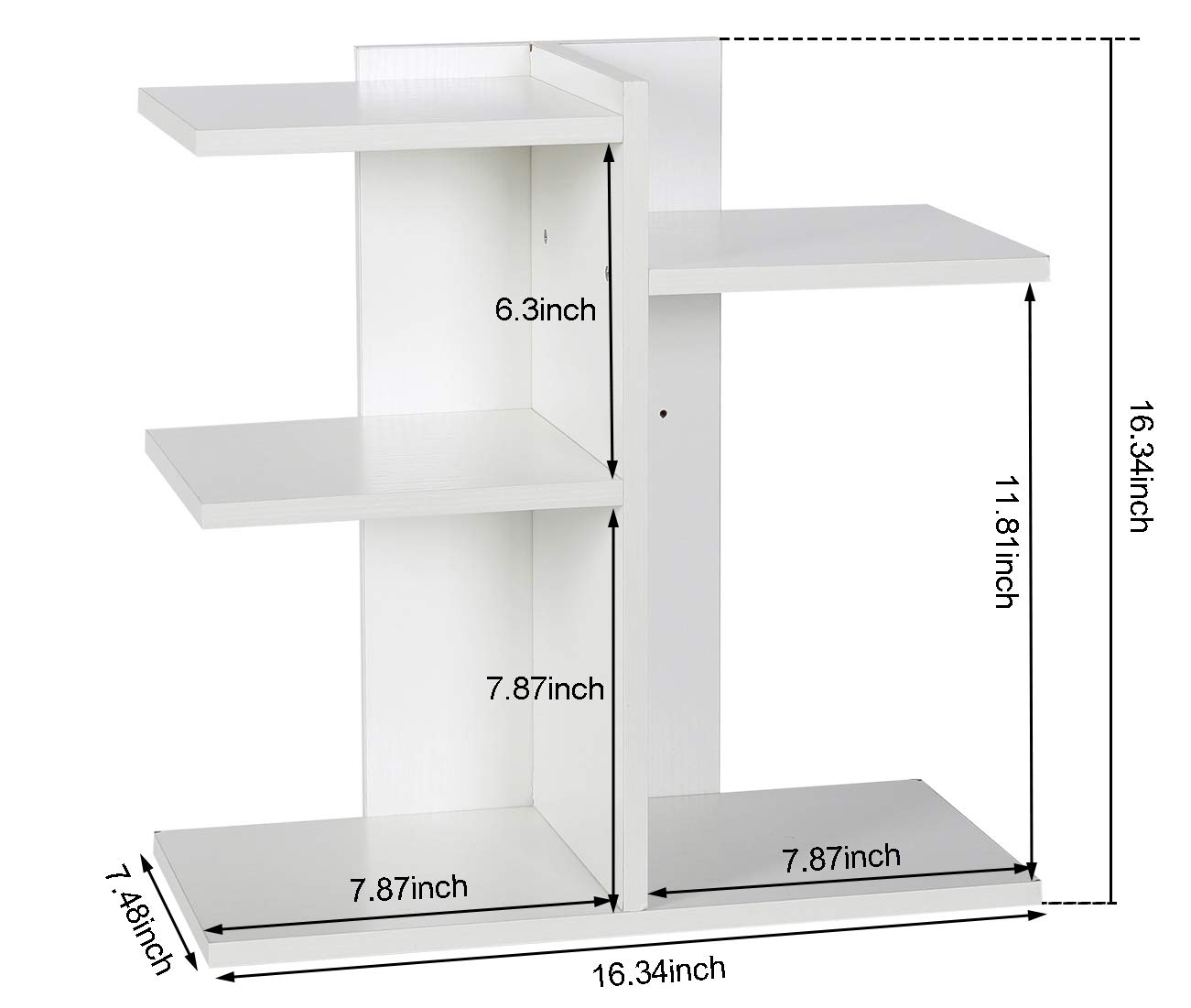 PAG Wood Desktop Bookshelf Assembled Countertop Bookcase Literature Holder Accessories Display Rack Office Supplies Desk Organizer, White by PAG (Image #4)
