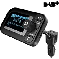 """FirstE Car DAB/DAB+ Radio Adapter 2.3"""" LCD Bluetooth FM Transmitter Handsfree Call Car Kit MP3 Player Music Receiver, Portable Digital Radio with 5V 2.1A USB Port/SD Card/AUX Output/DAB Antenna"""