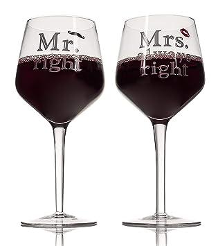 Juego de 2 copas de vino con diseño «Mr» y «Mrs» de